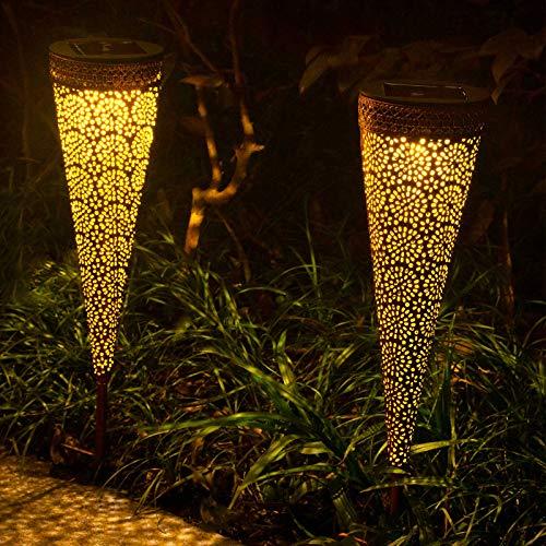Qomolo Solar Gartenleuchte Solarlampe für Außen LED IP65 Wasserdicht, Gartenleuchte Licht Solarlicht, Aussenlicht für Garten, Hof, Pfad, Warmlicht (2 Stück)