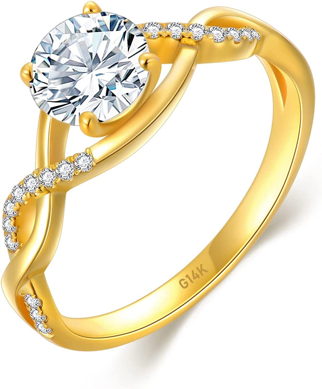 SISGEM 14K Gold Wedding Ring for Women,Split Shank Pave Set 1 Carat Moissanite Engagement Ring With Engraved Name,Wedding Anniversary Size 5-11