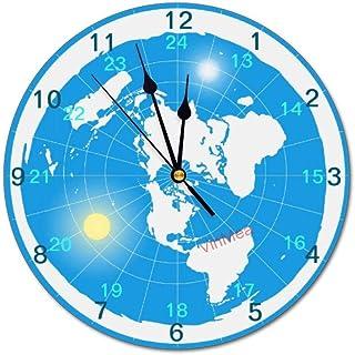 VinMea Wall Clock,Flat Earth,Silent, no Ticking, Home Decoration, 11.8x11.8 inches