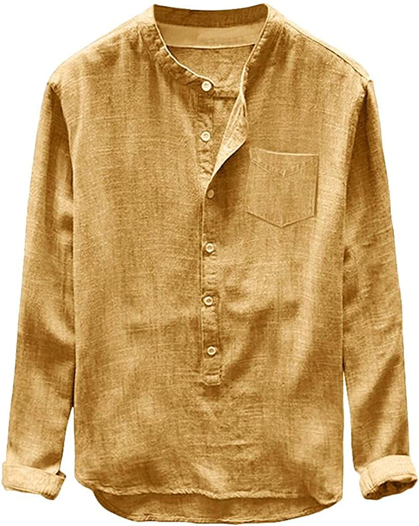 WUAI-Men Cotton Linen Henley Shirts Long Sleeve Casual Light Hippie Hipster Yoga Summer Beach T-Shirts Tops