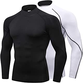 Mens Mock Turtleneck Compression Shirts Long Sleeve Sports Thermal Baselayer