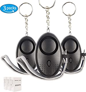 HXDZFX Emergency Personal Alarm,140DB Self-Defense Electronic Device Security Alarm Keychain With LED Light for Women Kids Girls Elderly Safety - 3 Pack