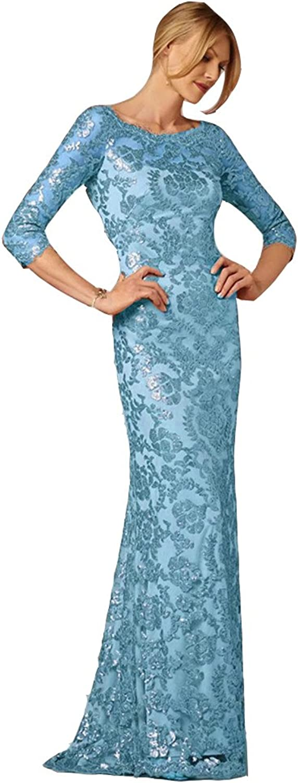 Ai Maria Women's Elegant pink gold Sequins Lace Appliqued Mother of The Bride Dresses