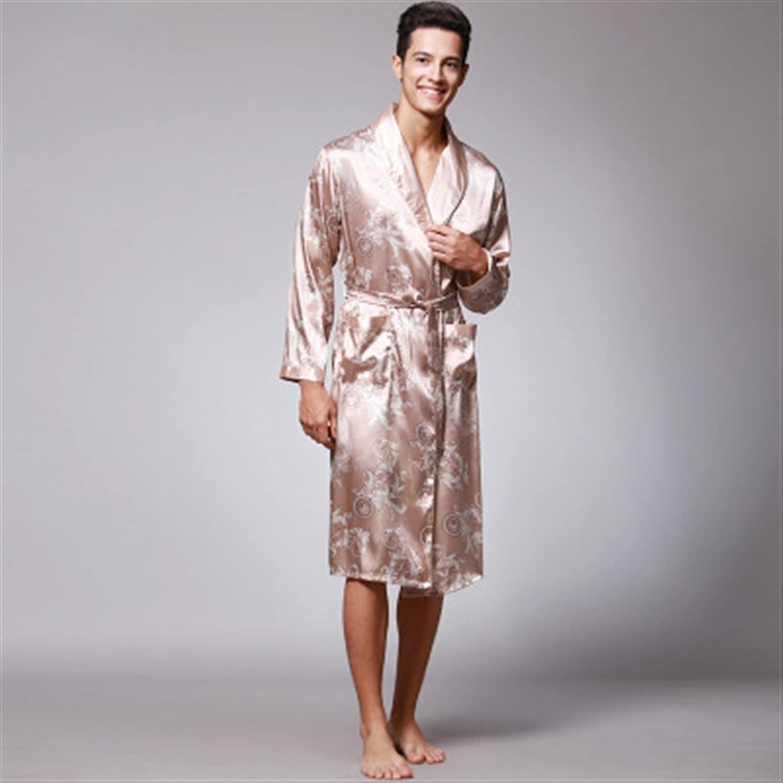 HONGJIU Mens Satin Robe Silk Long Sleeve Kimono Bathrobe,Mens Summer Print Silk Robes Sleepwear Loungewear Home Clothes (Color : Khaki B, Size : Large)