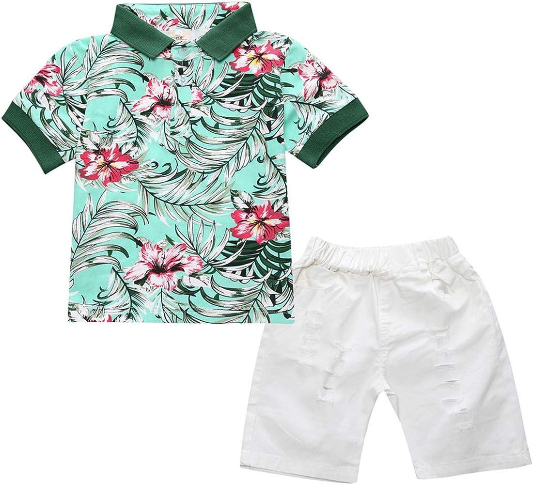 2PCS Boys Summer Hawaii Shorts Set, Flower Print Short Sleeve Polo Shirts Tops + Solid Shorts