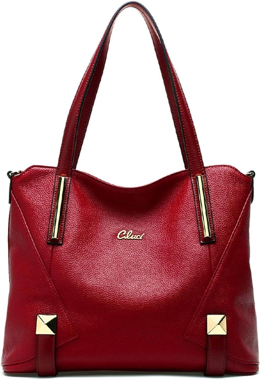 CLUCI Genuine Leather Handbags Designer TopHandle Tote Shoulder Bag Purse for Women Wine Red