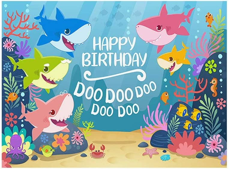 Color : Blue, Size : 210x150cm Zxcvlina-YD Cartoon Seabed Shark Photography Backgrounds Wall Children Birthday Banner Baby Shower Photo Booth Newborn Photography Props Photographic Studio