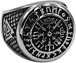 BAVAHA Wolf Arrow Ring Celtic Knot Stainless Steel for Man and Women Nordic Rune Odin Symbol Amulet Biker Men Punk Titanium Steel Viking Scandinavian Ring