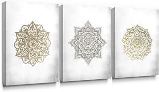 SUMGAR Mandala Art Mandala Gris Dorado Decoración de la Pared Decoraciones Indias Impresiones en Lienzo Flores asiáticas Imágenes Obra Floral para el Dormitorio Sala de Estar Baño 30x40cmx3 Piezas