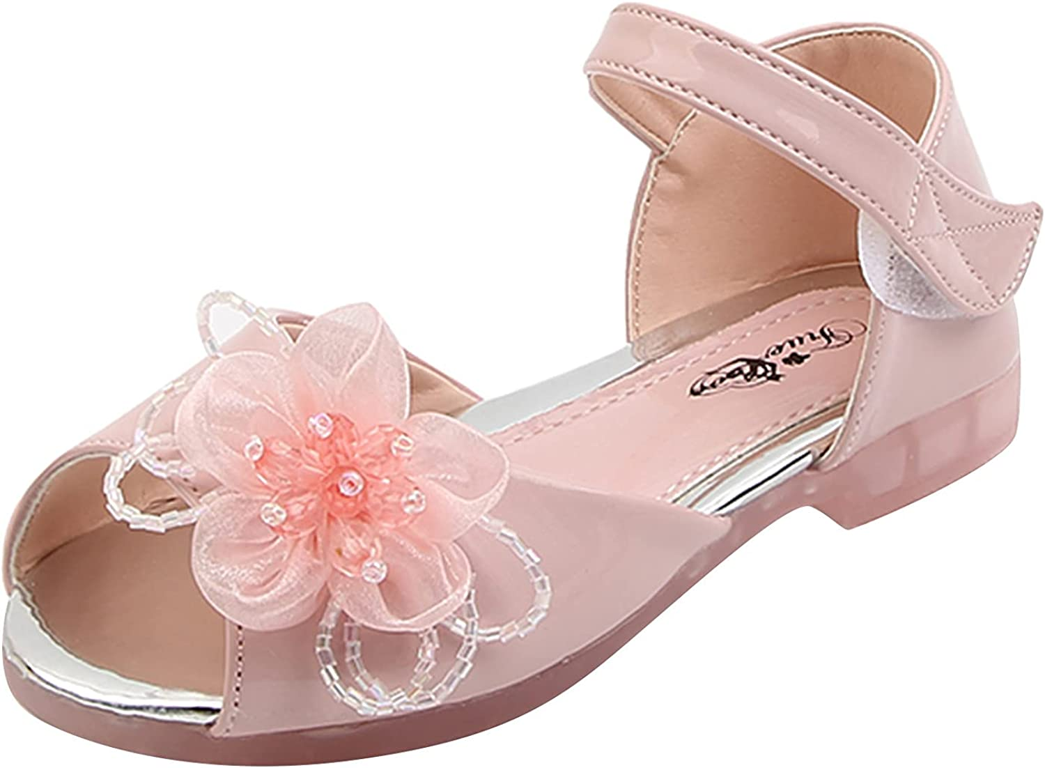 sandals for toddler girls child fish mouth pearl big flowers princess sandals flat flip flop sandals infant toddler pants clothing simple beautiful breathable summer