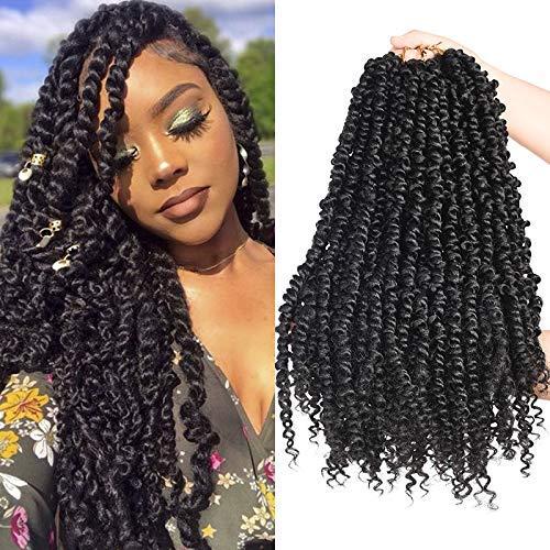 Silike 6 Packs Passion Twist Crochet Hair for Black Women 18inch Pre twisted Passion Twist Crochet Braiding Hair-Pre-looped Crochet Twist Hair (1b)