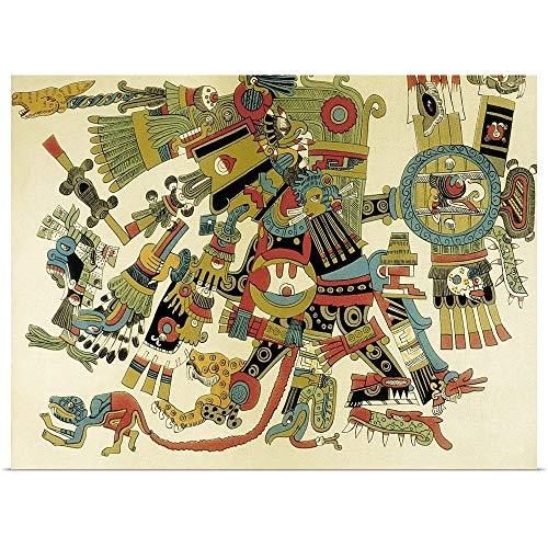 GREATBIGCANVAS Tezcatlipoca, Aztec Lord of Days, War, Fine Art Poster Print, Mythology Home Decor Artwork, 36'x27'