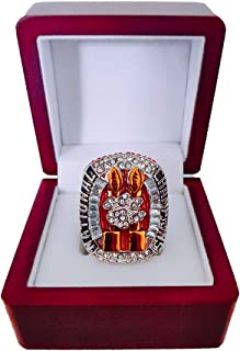 Nine Culture Clemson University Tigers 2018 CFP National Champions Collectible Replica Football Silver Championship Ring Size 11 with Cherrywood Display Box