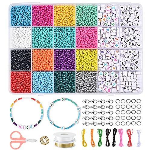 7200 Pezzi Set di Perline Fai da Te per Bambini Adulti Perline Colorate lettere Mini Perline per Braccialetti Collane Bigiotteria con Creazione di Gioielli Kit di Creazione