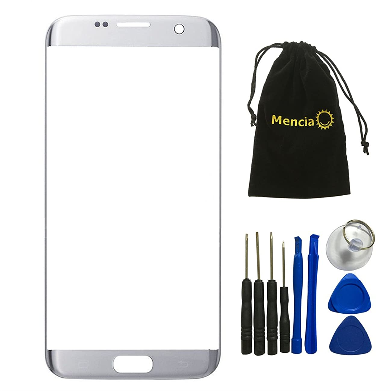 Mencia Front Cover Screen Glass Lens Outer Replacement For Samsung Galaxy S7 Edge G935 G935F G935A G935V G935P G935T G935R4 G935W8 (NO LCD and Digitizer) (Silver)