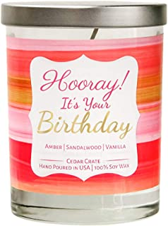 Hooray! It's Your Birthday | Vanilla, Sandalwood, Amber | Luxury Scented Soy Candles | 10 Oz. Jar Candle | Made in the USA | Decorative Aromatherapy | Birthday Gifts For Women | Happy Birthday Candles