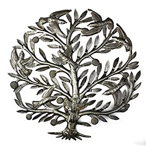 it's cactus – metal art haiti Tree of Life, Decorative Sculptures, Home Decor Wall Hangings, Family Tree, Roots, Flowers, 24 in. x 24 in. (Dancing Tree)