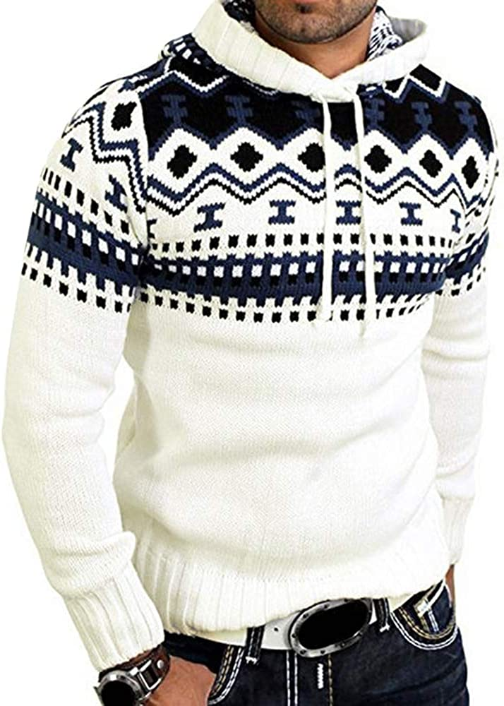 JMSUN Spring and Autumn Hooded Jacquard Pattern Pullover Sweater