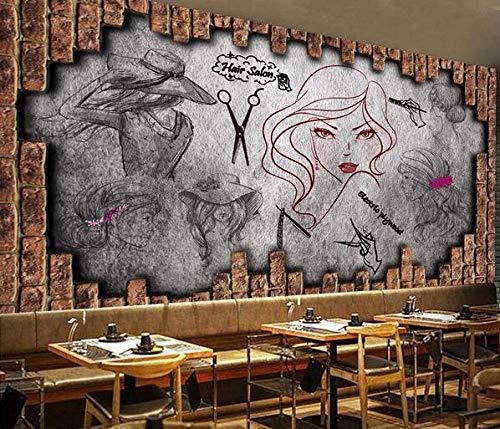 Nostalgisch fotobehang met make-upafbeelding, achterkant van de kapsalon, affiche van de schoonheidssalon van de kapsalon 250cmx175cm
