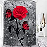 Duschvorhang mit Rosendruck, 3D-Effekt, wasserdicht, Polyester, 180,3 x 180,3 cm, moderner Badezimmer-Vorhang (rote Rose)