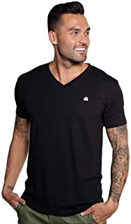 INTO THE AM Men's V Neck Tee Shirts - Ultra Soft Modern Fitted Plain T-Shirts