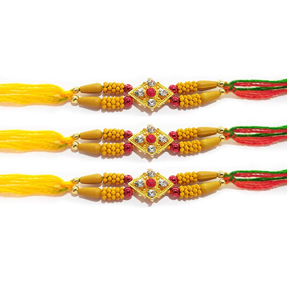 Set of 3 Rakhi for Rakshabandhan with Yellow Beads and 5 Stone Multi Beads Threads and for Giving Gift to Brother, Vary Color and Multi Design
