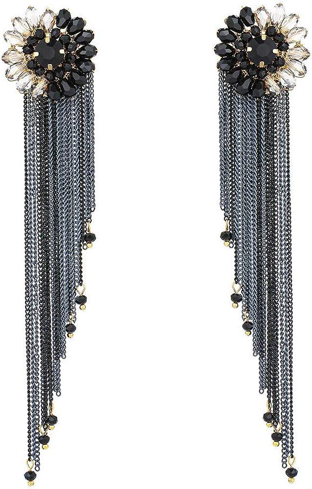 Long Tassel Chandelier Earrings - Rhinestone Floral Earrings with Sleek Fringe - Great Idea for Prom, Party