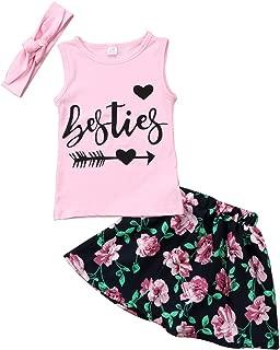 SUPEYA Toddler Girls Besties Letter Print Vest Tops Floral Tutu Skirt Headband Set