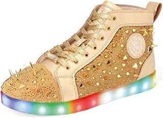 Men's Gold High Top Spinning Light Up Sneakers Boys Casual Luminous Flashing Led Shoes Walking Comfy Lace Up Punk Spikes Focus Club Party Hip-Hop Shuffle Dance Street Fashion