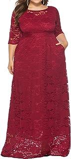 فستان طويل الأكمام 2/3 كم من الدانتيل المزين بالزهور للنساء من اتيرناتيستيك مقاس كبير للحفلات المسائية