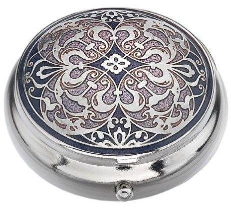 Sea Gems presented by Celtic Glass Designs Pill Box (Standard Size) in an Arabesque Design in Purple Color