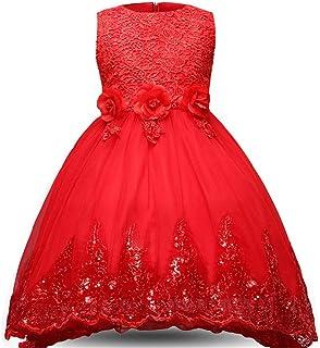 GFDGG 光沢のあるスパンコールリトルガールズプリンセスページェントドレスハイローガウンダンスチュチュトレインフラワーガールズドレスキッズガールズノースリーブ刺繍レースイブニングパーティーウェディングドレス (パターン : 赤, サイズ : 120)