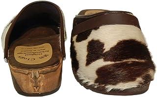 Zuecos originales de Suecia para hombre, zuecos de jardín, ocio, diseño de piel de color blanco, marrón y blanco con toro ...