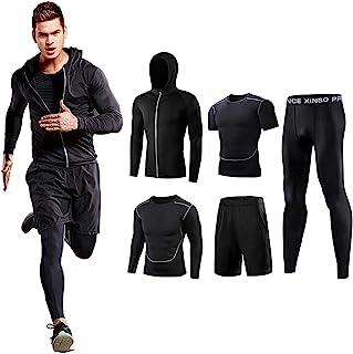 コンプレッションウェア セット メンズ トレーニングウェア 5点セット 通気防臭 スポーツウェア ランニングウェア パーカー 長袖シャツ 半袖シャツ ハーフパンツ タイツ 吸汗速乾