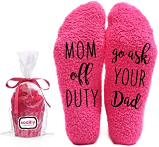 Mom off Duty, Ask your Dad Funny Socks - Cool Pink Fuzzy Novelty Cupcake Packaging for Her - Gift Idea for Mom, Wife, Sister, Friend, Aunt or Grandma - Birthday, Christmas, Anniversary - 1 Pair