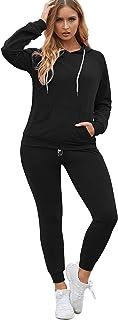 Women Pullover Hoodie Pockets Sweatpants Sport Jogger Sweatsuit