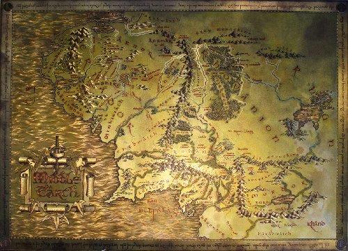 Carte de la Terre du Milieu Le Hobbit et Le Seigneur des Anneaux (69cm x 49,5cm) + Un Poster Surprise en Cadeau!