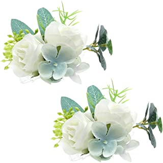 Febou Wrist Corsage 2 Packs Wedding Bridal Wrist Flower Wristband Hand Flower for Bride Bridesmaid Perfect for Wedding, Prom, Party (Wrist Flower, N-White)