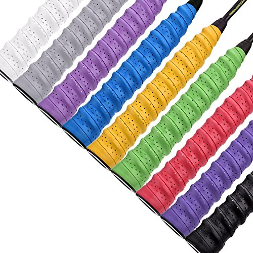 Pangda Tennis Badminton Racket Overgrips for Anti-Slip and Absorbent Grip (9 Pack Style A, Multicolored)
