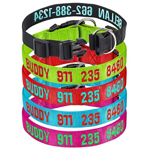 Collar de Perro, Collar de Nailon con identificación de teléfono Personalizado, Collares de Perro básicos Ajustables para Perros de Raza S, M y Grandes
