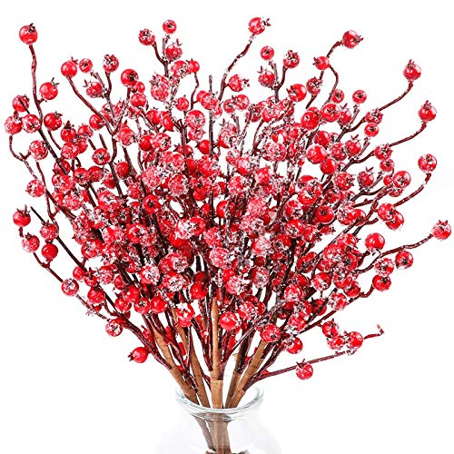 FUNARTY 6pcs Red Berry Stems Artificial Christmas Berries with Ice Fake Berry Sprays for Crafts, Home, Party and Christmas Decoration
