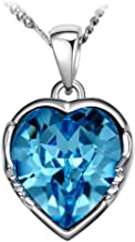 The Starry Night Blue Heart Crystal Twelve Constellations Aquarius Shining Silver 18.5