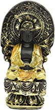 Flameer Asian Goddess Guan Yin Seated on Lotus Home Office Desktop Outdoor Garden Statue, Polyresin, 11.5 cm