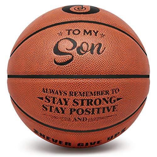 PP PICADOR Basketball-Geschenk, aufgeblasen, Größe 7, graviert – Never Give Up, Ermutigung, Abschluss, Geburtstag, für Männer, Jungen, Studenten, Indoor/Outdoor