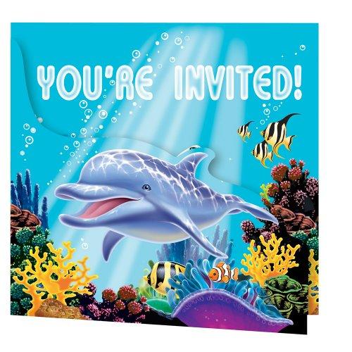 16-teiliges Einladungskarten Set * OCEAN PARTY * für Kindergeburtstag und Mottoparty // 8 Einladungen und 8 Umschläge // Kinder Geburtstag Party Invitations Ozean Meer Korallenriff Clownfisch Schildkröte Delfin