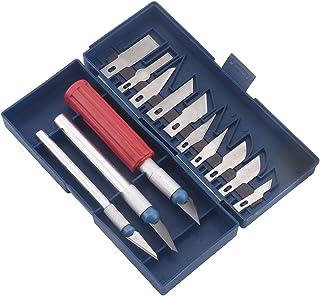 Yosoo - Juego de 16 cuchillos multifunción de estilo exacto para manualidades, cortadores de tallas, para esculpir arte, juego de herramientas (13 hojas + 3 asas)