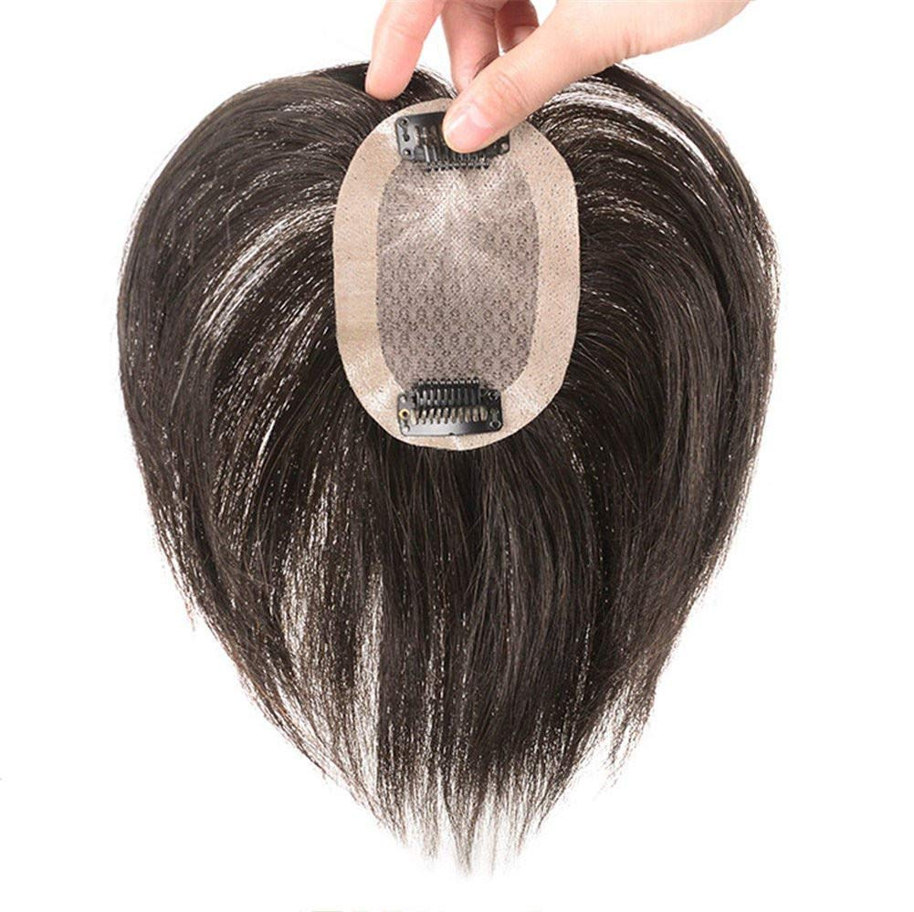 Amazon Com Real Human Hair Toppers For Short Hair Hand Tied Clip In Crown Hairpiece For White Thinning Hair 5 X 8cm Dark Brown Beauty