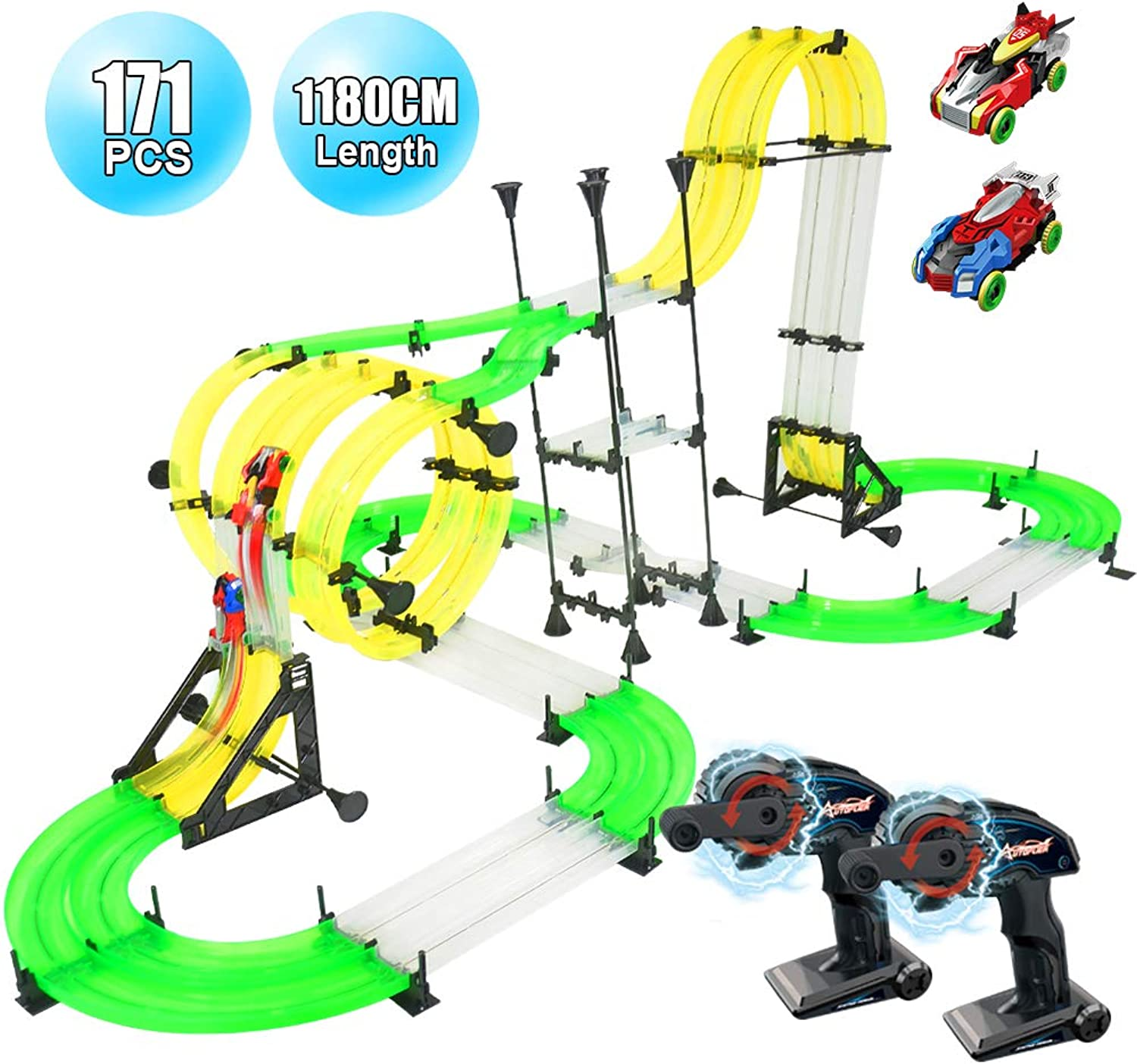 RC Car Race Track Set, Elec3 Racing Track Car Toys, 1180cm DIY Double Rail Car Race Track Set, 2 Cars, 2 HandOperated Controllers, 3D Super Track Car Playset for Birthday Party Festival Gift