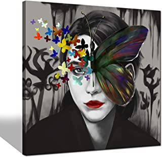 sechars - Woman Canvas Wall Art Fashion Woman Portrait with Butterfly Painting Art Print on Canvas Modern Bedroom Beauty Room Wall Decor Sexy Red Lip Picture Poster Artwork Stretched Ready to Hang