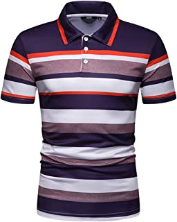e739915d10493 Allywit-Mens T-Shirt Business Personality Casual Slim Short Sleeve Stripe  Tops Button Sports